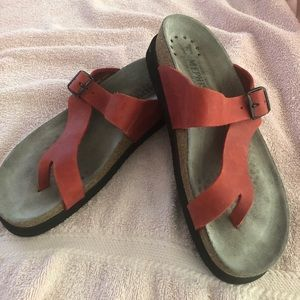 Mephisto Helen sandals in red nubuck leather.